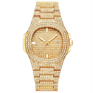 クォーツフルダイヤモンドステンレス鋼 レディースゴールデンファッション 女性用腕時計M-510-GOLD