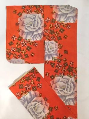 銘仙 袷 橙色 白薔薇と小花