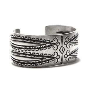 Navajo Sterling Silver Early Pueblo Style Bangle by Calvin Maltinez