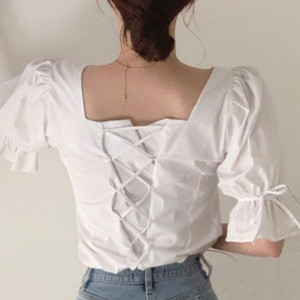 【トップス】韓国風デザイン性韓国風デザイン性ボウタイスリムパフスリーブ半袖シャツ32880516