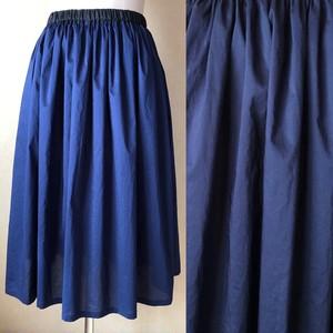 リバティ無地のギャザースカート72.5cm丈 ネイビー