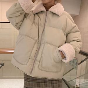 【アウター】韓国系切り替え無地POLOネック綿入れコート25206349