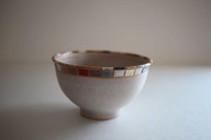 古川真紀子(撫菜花工藝)|モザイクタイル文様 お茶碗