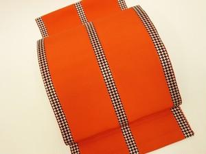 ☆91172☆未使用美品 八寸帯 縞模様 シンプル 朱色