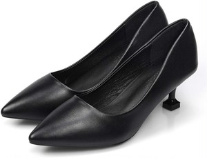 [Sambur] パンプス ハイヒール 5cm 黒 歩きやすい レディース ピンヒール 美脚 ソフトクッション 靴 足囲3E PUレザー