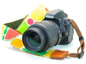 カメラストラップ 4㎝巾 一眼レフ用 片面 MIMURIデザイン フルーツ