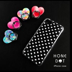 骸骨 ドットクリアiPhoneケース[11まで対応] + 選べるハートのスマホリング[セット]