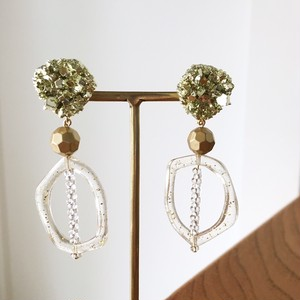 Gold mineral fake beads earrings