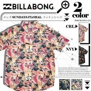 AJ011-121 ビラボンBILLABONG 人気ブランド メンズ SUNDAYS FLORAL コットン半袖シャツ新作 柄 シャツ サーフシャツ ボタニカル柄 S M