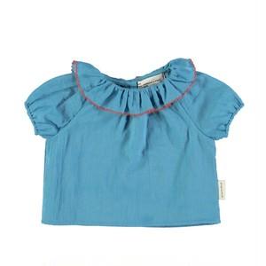 【piupiuchick】Shirt w/round frilled collar deep blue . voile (SS21.BM2101A)