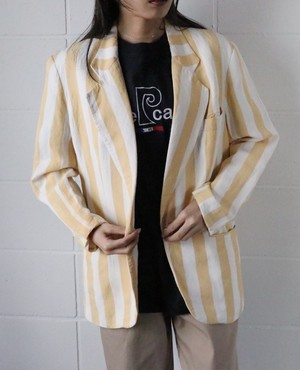 80's ANN TAYLOR yellow stripe jacket