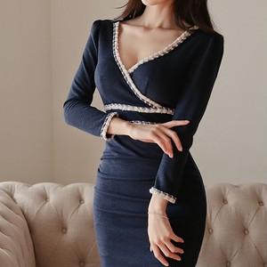 カラーラインタイトドレス ZA2001