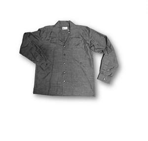 5 大島紬リメイク メンズ長袖シャツ(こげ茶色・M)