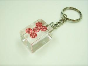五筒(赤) クリア麻雀牌 キーホルダー