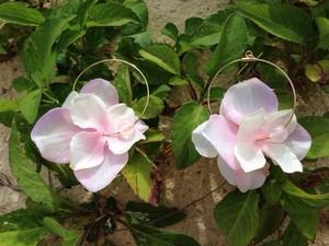ピンクのお花 ピアス