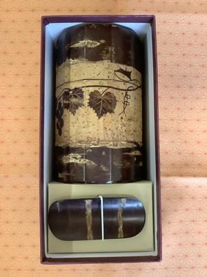 超特価品 角館桜皮細工『12角茶筒ぶどう茶味付』