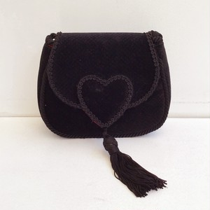 vintage velours heart × tassel mini shoulder & cluch bag