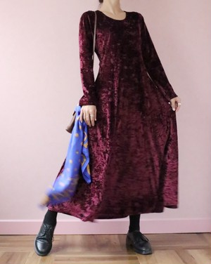 Burgundy velour long flare dress