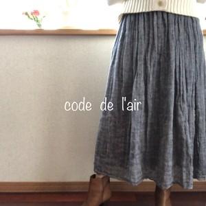 ふんわりサラサラ贅沢リネンのスカート:ネイビー
