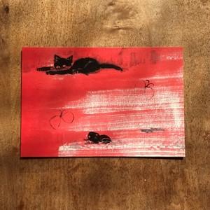 ポストカード しろねこくろねこ(黒猫とカエル)