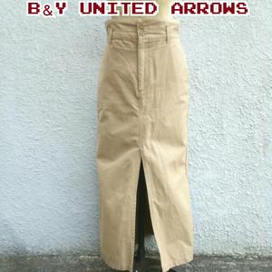 ビューティーアンドユース ユナイテッドアローズBEAUTY&YOUTH UNITED ARROWS/ハイウエスト/スリット/タイトスカート/ロングスカート/M/ベージュ/定価12960/1624-243-3055/
