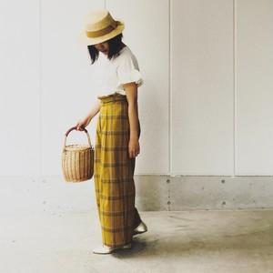 黄色チェックリネン パンツ