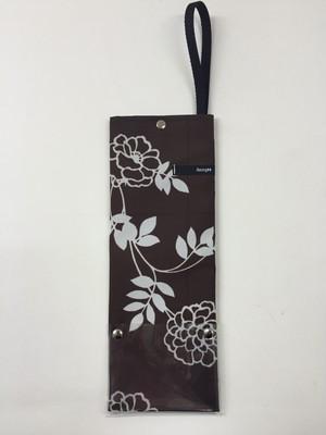 アンブレラサック・ミニ★花ブラウン【折りたたみ傘収納バッグ】