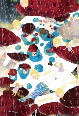 ポストカード「乳灰色の雨」