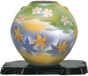九谷焼5、5号花瓶 春秋(花台付) N164-07A