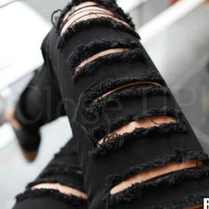 【ボトムス】超人気ファッションハイウエストダメージ加工デニムパンツ26988903
