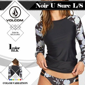 O0311901 ボルコム Noir U Sure L/S 女性用 黒 UVカット 新作レディース 長袖水着 ラッシュガード VOLCOM