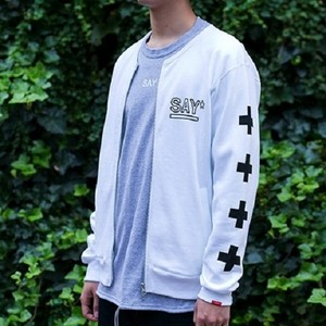 "SAY! / セイ!| "" NO COLLAR ZIP SWEAT "" - White"