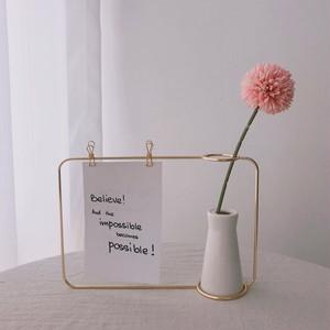 metal wire memo vase 2colors / メモ クリップ ワイヤー ベース 花瓶 ゴールド ブラック ポストカード 韓国 雑貨