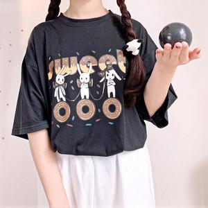 【トップス】日系ウサギプリントルーズラウンドネックTシャツ