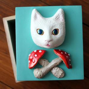 きのこと猫の小箱(シーグリーン)