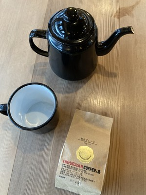 琺瑯のコーヒーポットとマグ、ヘロンのオリジナルブレンドコーヒー(豆または粉)セット