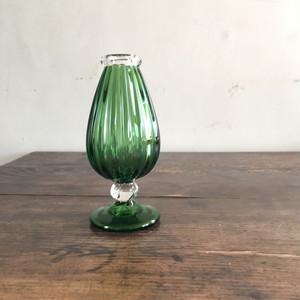 吹きガラス/村上恭一 色モール花器 グリーン