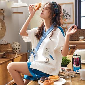 【ルームウェア】2点セット薄型和風スウィートコットン短袖トップス+ショートパンツ