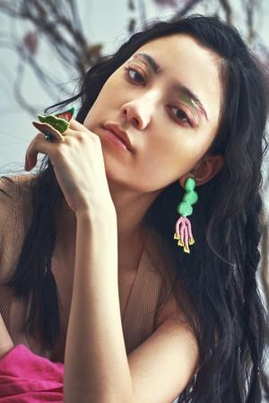 ARRO / Embroidery earring / NOI / green