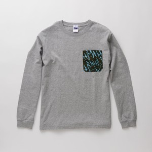 L/S T-Shirt WAVES pocket Gray × Khaki