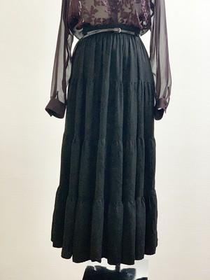 Vintage Black Rayon Tiered Skirt