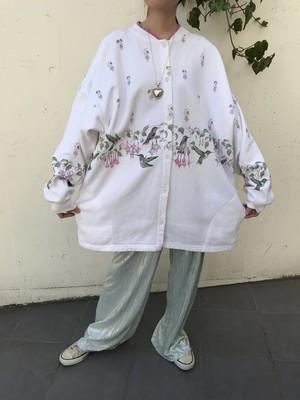 Vintage white × bird floral big haori sweat ( ヴィンテージ ホワイト × 鳥 × 花柄 ビッグ 羽織り スウェット )
