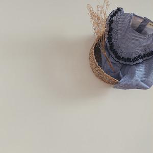 【petitmig-プチミグ】フリルラウンド ストライプ刺繍ブラウス