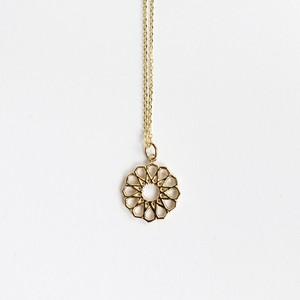 幾何学模様のお花ネックレス シルバー&ゴールドコーティング