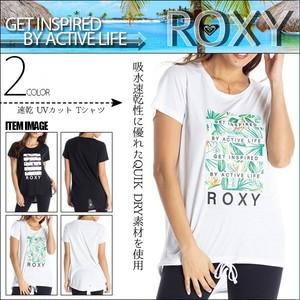 RST204524 ロキシー Tシャツ レディース 半袖 速乾 UVカット タウンユース 旅行 リゾート プレゼント 黒 白 ロゴ L GET INSPIRED BY ACTIVE LIFE ROXY