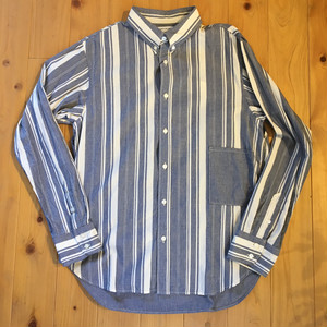 "H.UNIT STORE LABEL ""Indigo stripe trench shirt"""