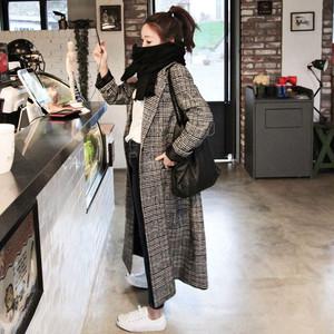 【アウター】可愛ファッションチェック柄折り襟長袖一シングルブレストコート