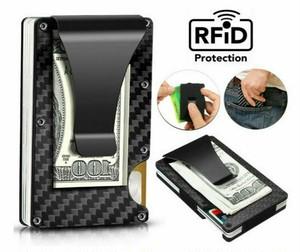 カード情報を守る!RFIDスリムカーボンファイバー マネークリップカードホルダー メンズウォレット