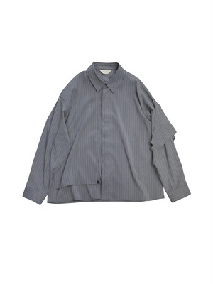 SILK STRIPE TRENCH SHIRT (GRY)
