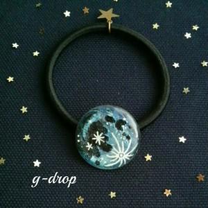 月のアート ヘアゴム [* Full moon -blue *]  青い月  夜空の綺麗な季節にオススメ☆彡